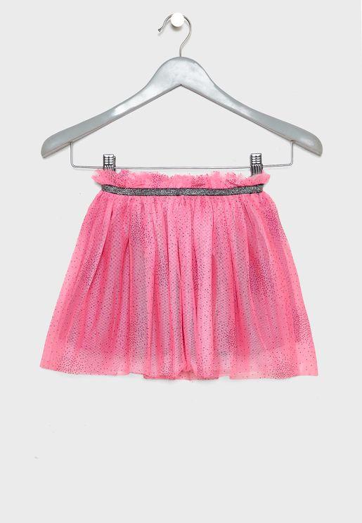 Kids Mesh Layered Skirt