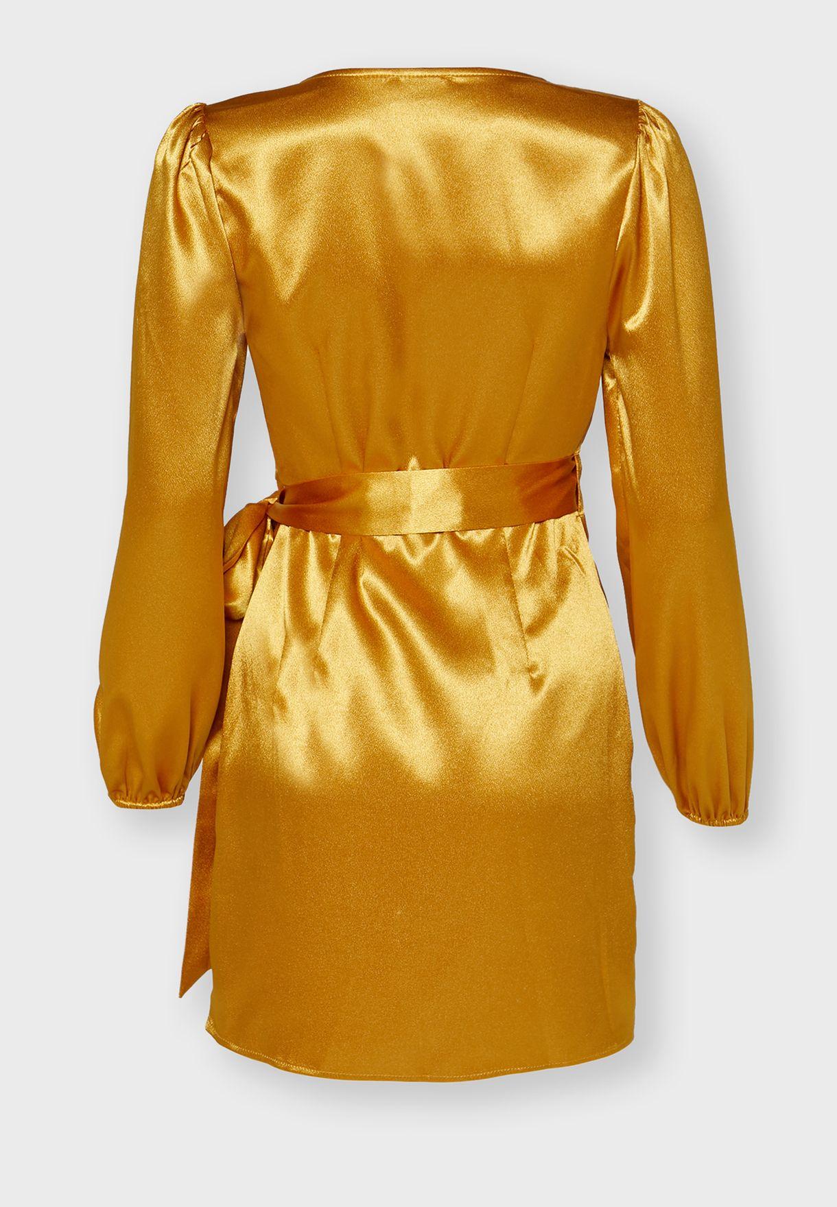 Wrap Front Puffed Sleeve Mini Dress