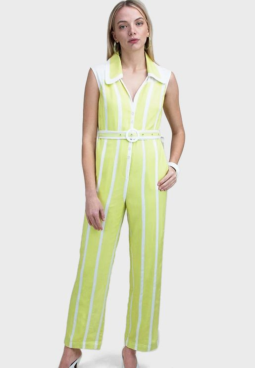 Belted Wide Leg Striped Jumpsuit