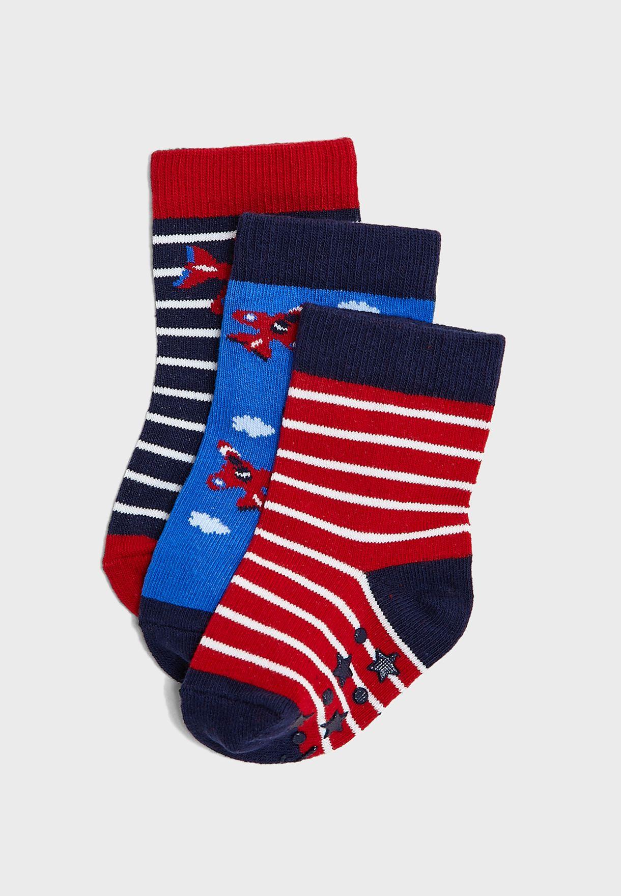 Kids 3 Pack Printed Socks