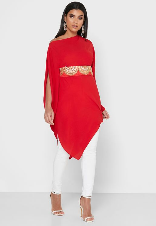 Embroidered Belt Asymmetric Dress