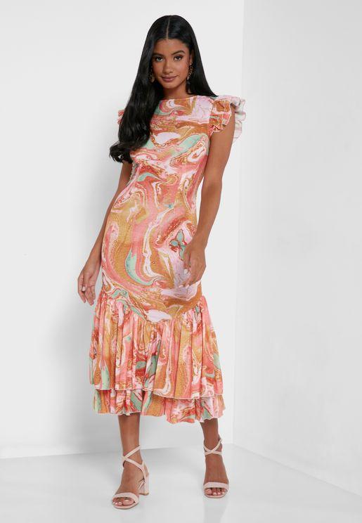 Printed Ruffle Hem Midi Dress