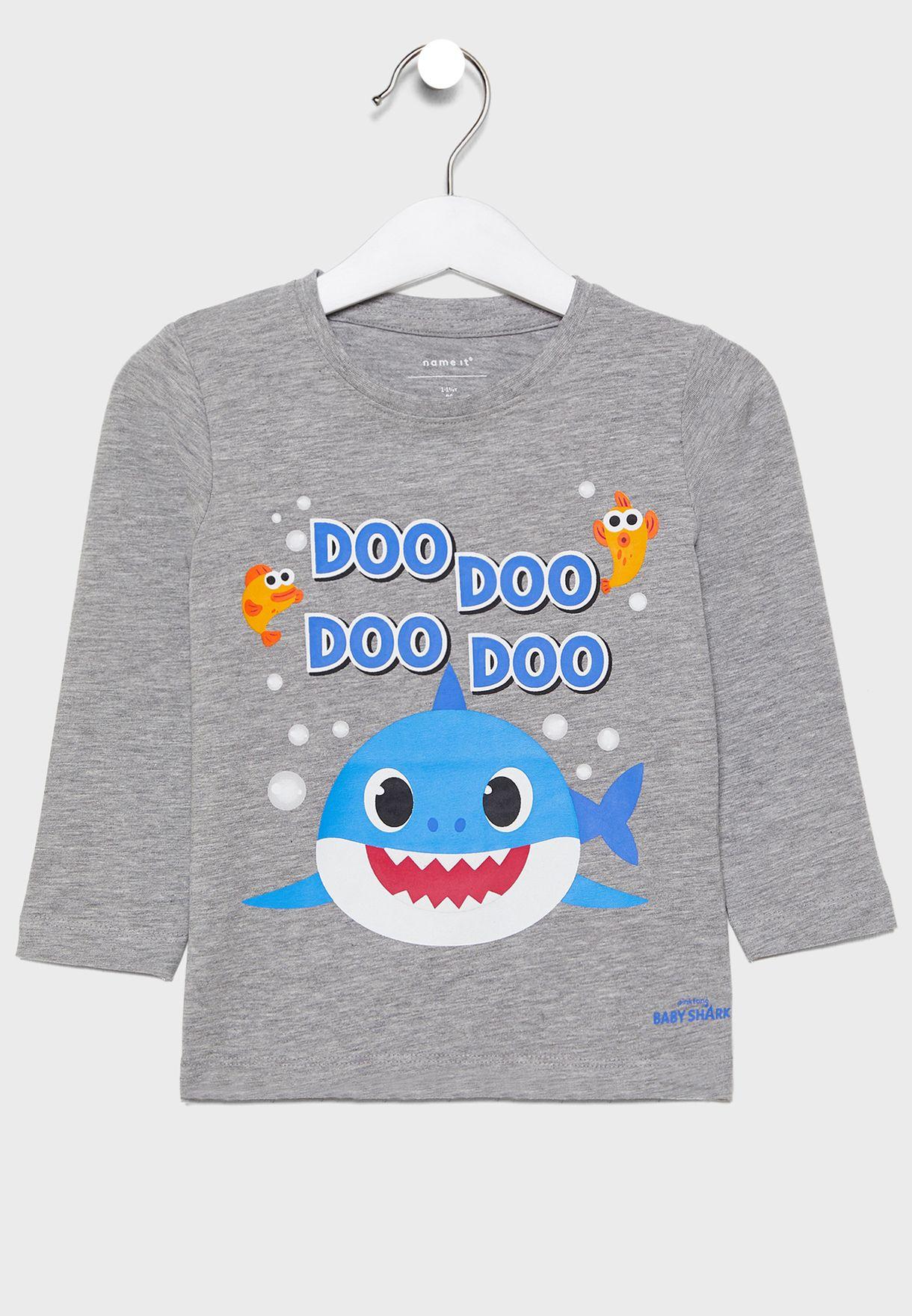 Buy Name It Grey Kids Baby Shark T Shirt For Kids In Mena Worldwide 13180622