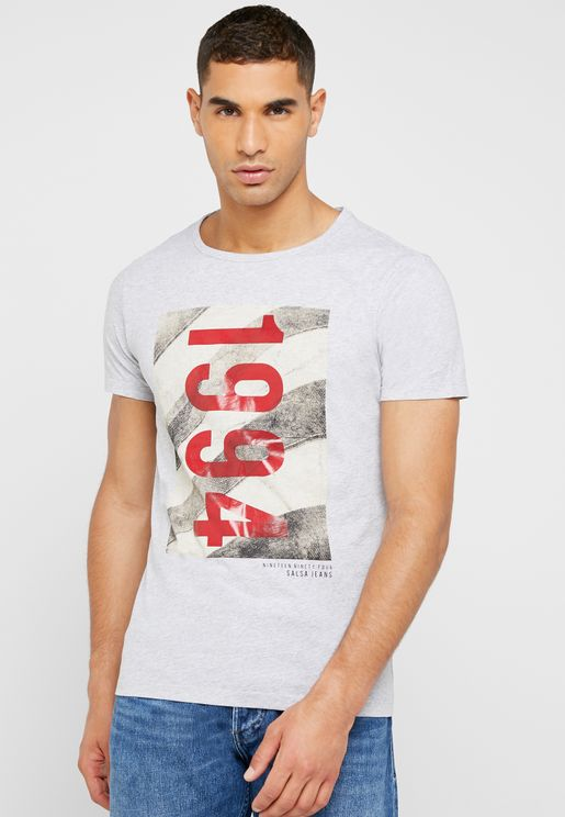Graphic Varsity Crew Neck T-Shirt