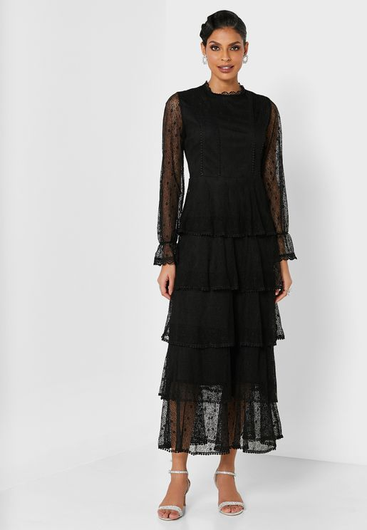 Tiered Belted Dress