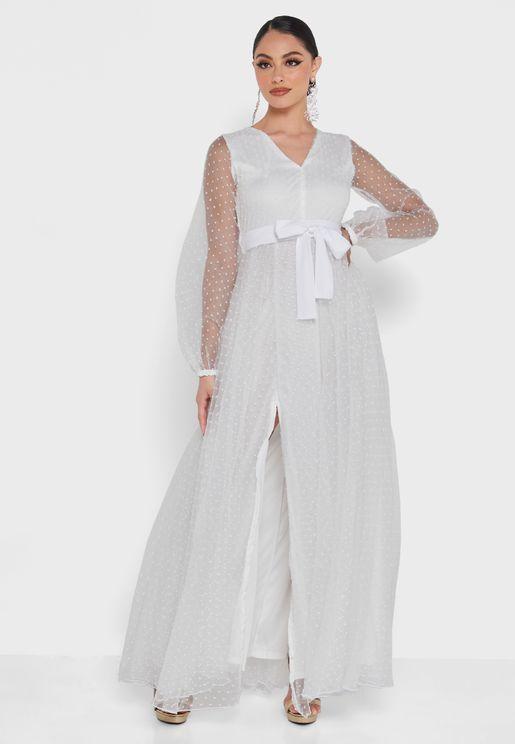 Dobby Sheer Sleeve A-Line Dress