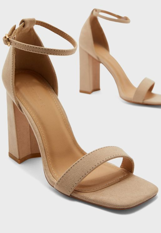 Block Heel Square Toe Sandals
