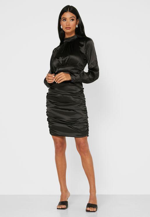 High Neck Ruched Mini Dress