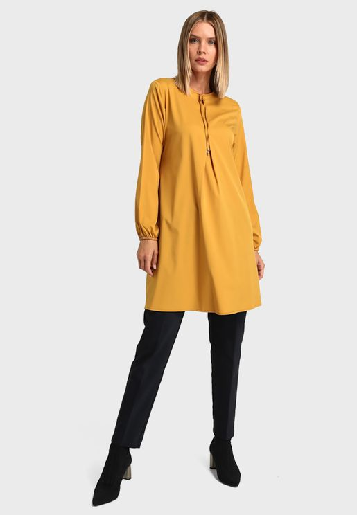 Crew Neck Tunic Top