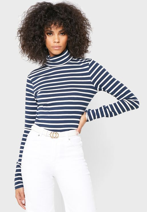 Striped Turtle Neck Top