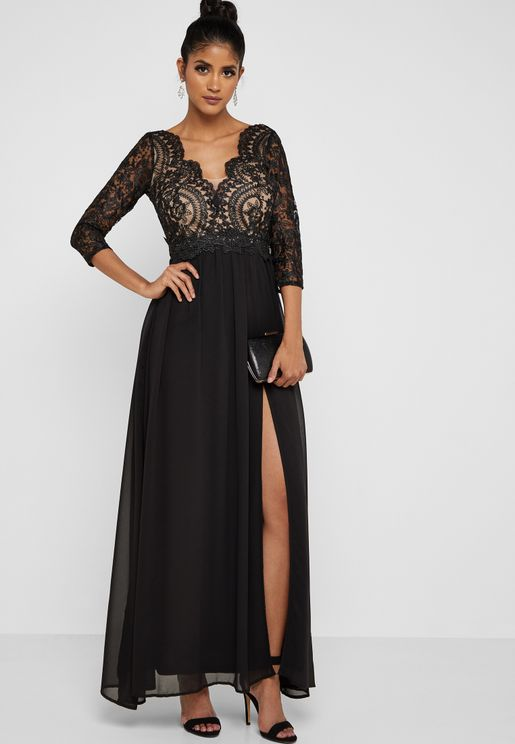 Lace Overlay Front Slit Maxi Dress