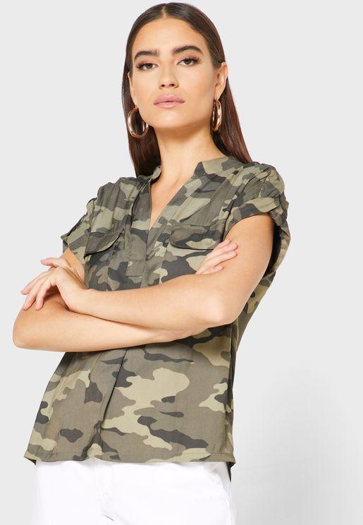 Camo Print Placket Shirt
