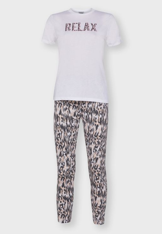 Leopard Print Slogan Pyjama Set