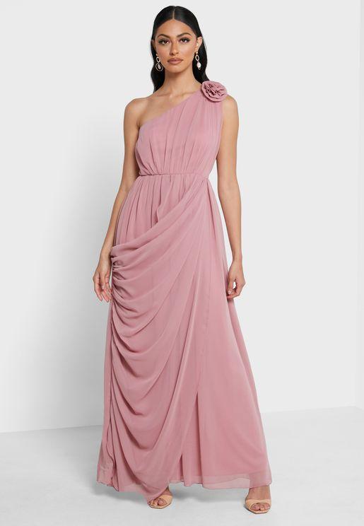 One Shoulder Chiffon Pleat  Detail Dress