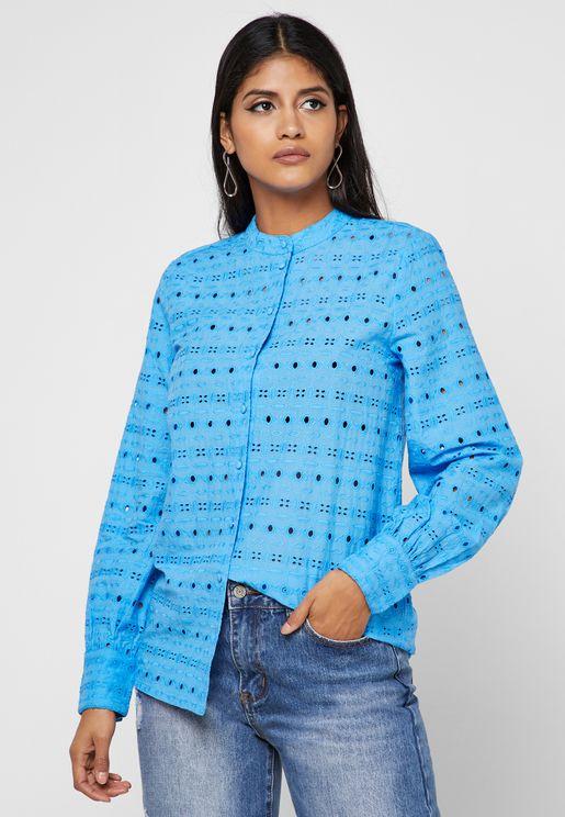 Laser Cut Longline Shirt