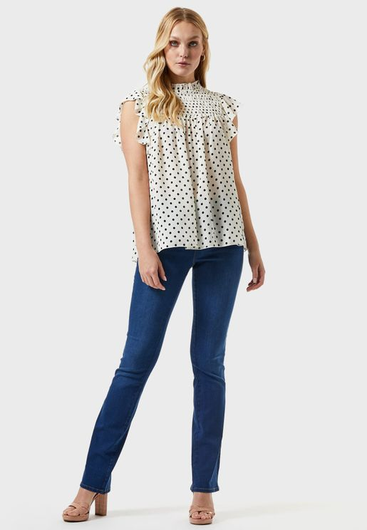 Shirred Neck Ruffle Trim Top