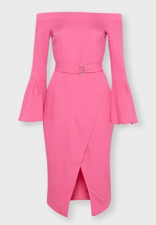 D-Ring Belted Bardot Midi Dress