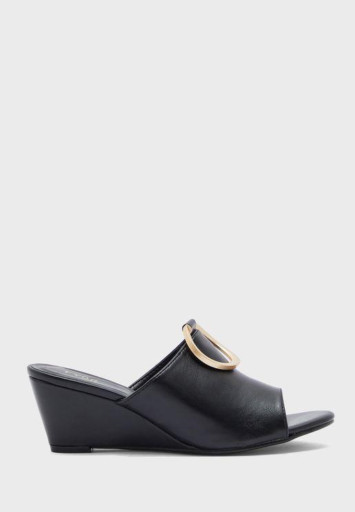 Buckle Detail Wedge Low Heel Sandals