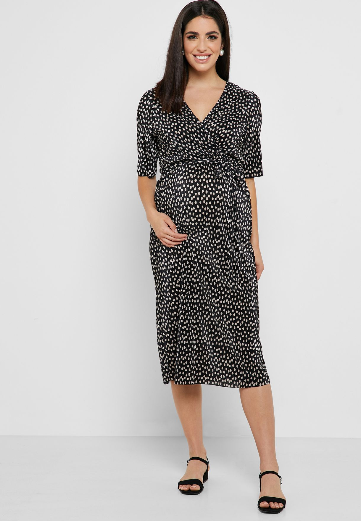 72f0f0f8c43 Shop Dorothy Perkins Maternity prints Spot Print Plisse Wrap Dress ...