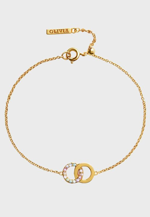 Rainbow Interlink Chain Bracelet