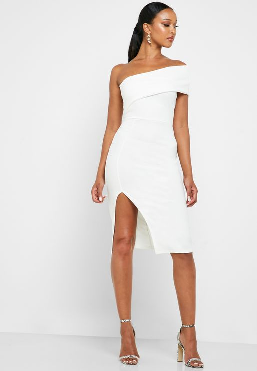 Side Split Bardot Bodycon Dress