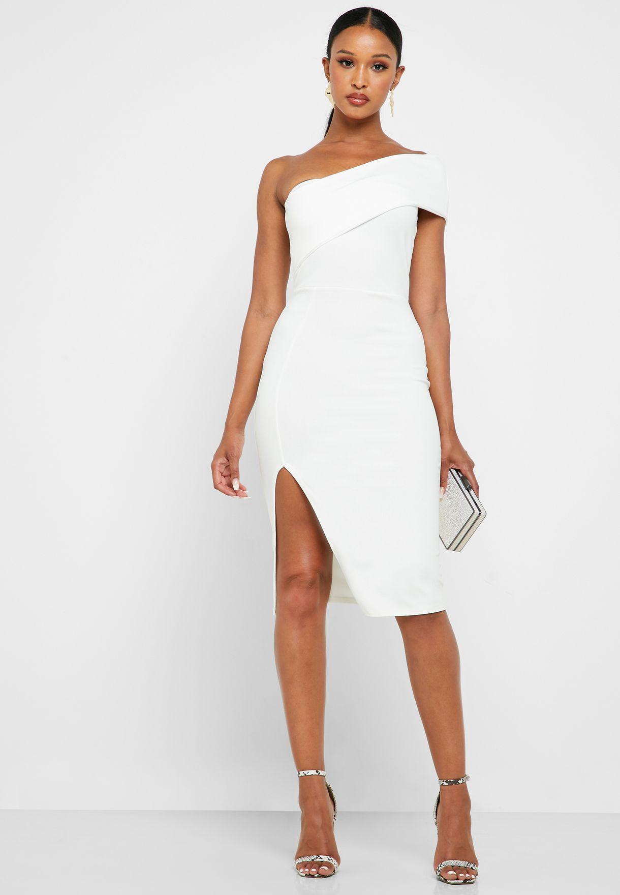 Side Split Bardot Bodycon Dress
