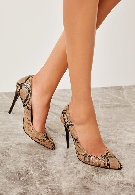 Yesil Pump With Snake Print