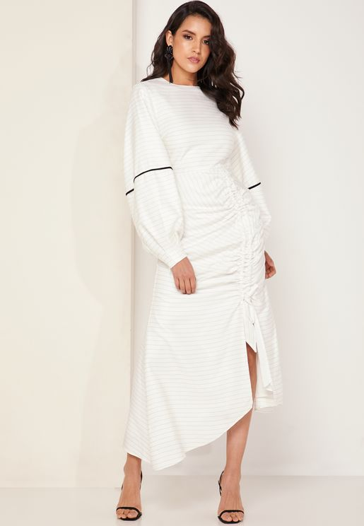 Fever Flute Sleeve Ruched Midi Dress