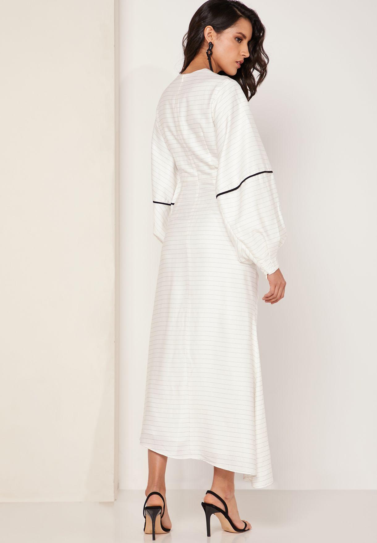 Fever Puff Sleeve Ruched Midi Dress