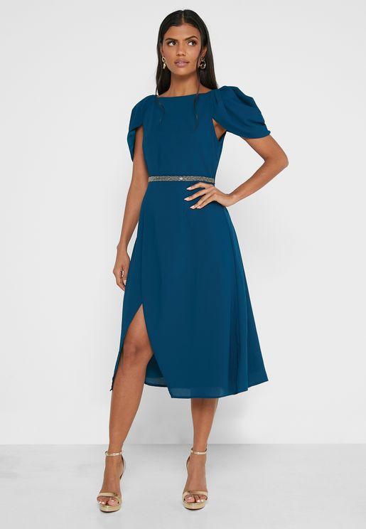 V-Neck Ruffle Detail Dress