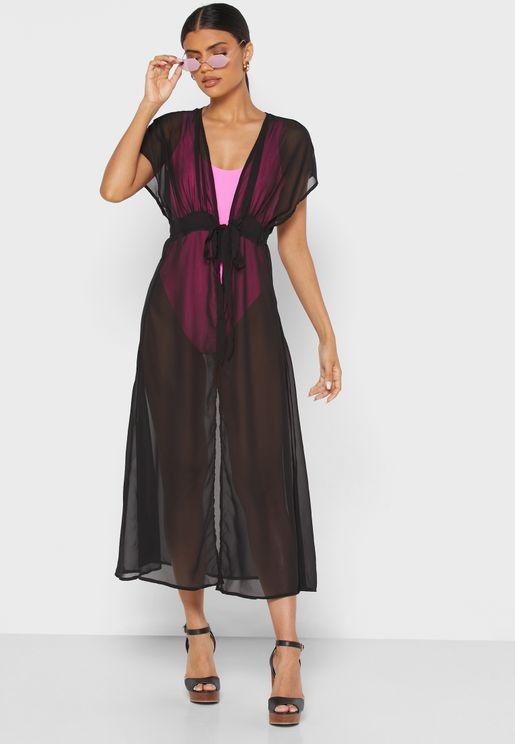 Tie Waist Longline Kimono