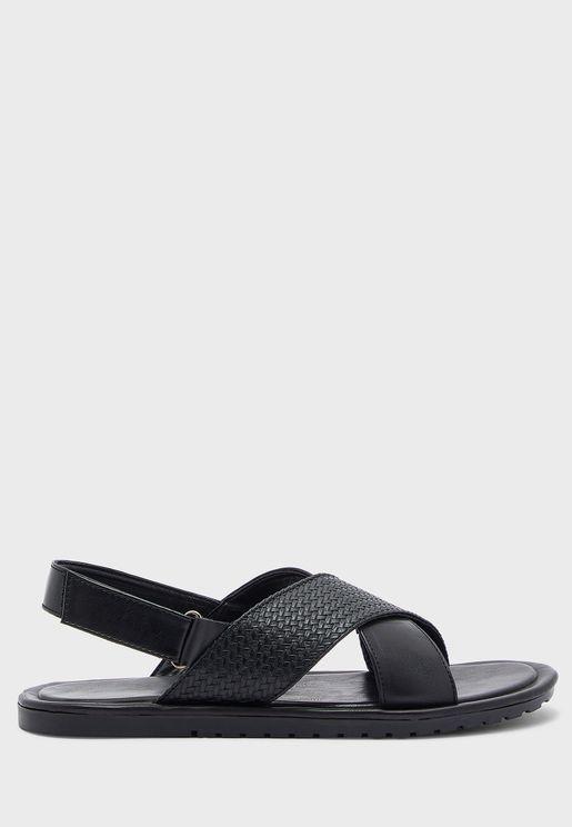 Mens Cross Strap Sandals