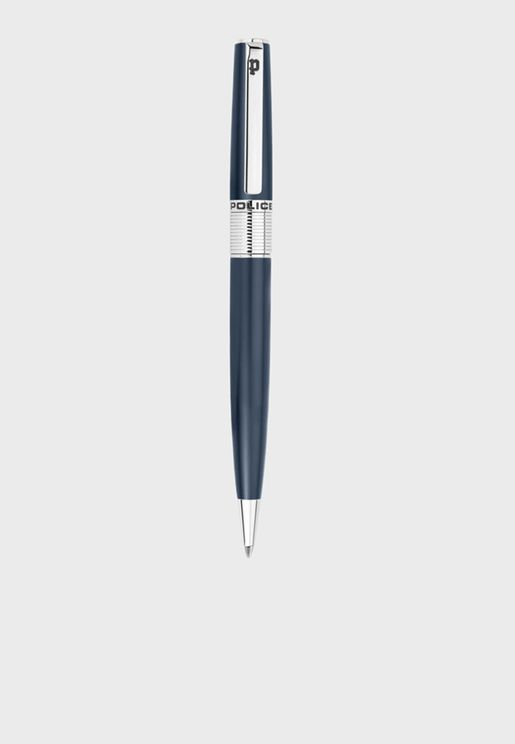 Police Serif Blue Pen With Stainless Steel Plating