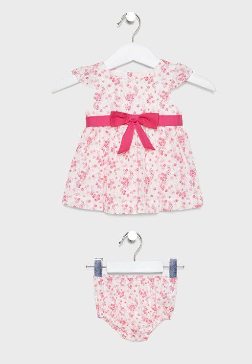 فستان بطبعات ورود +سروال