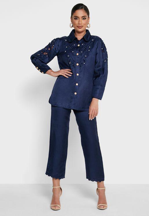 Pearls Detail Shirt and Pants Set