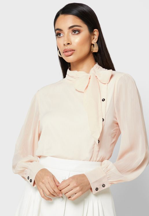 One Side Button  Tie Neck Top