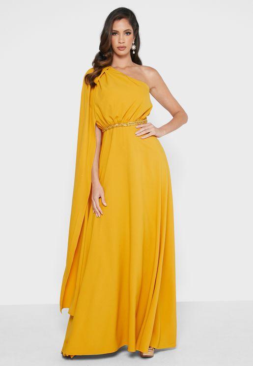 Cape Sleeve One Shoulder Dress
