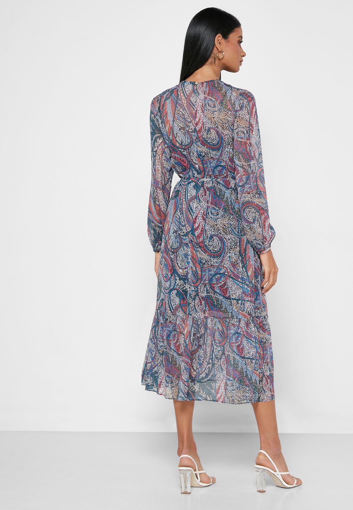 فستان مطبع باكمام طويلة