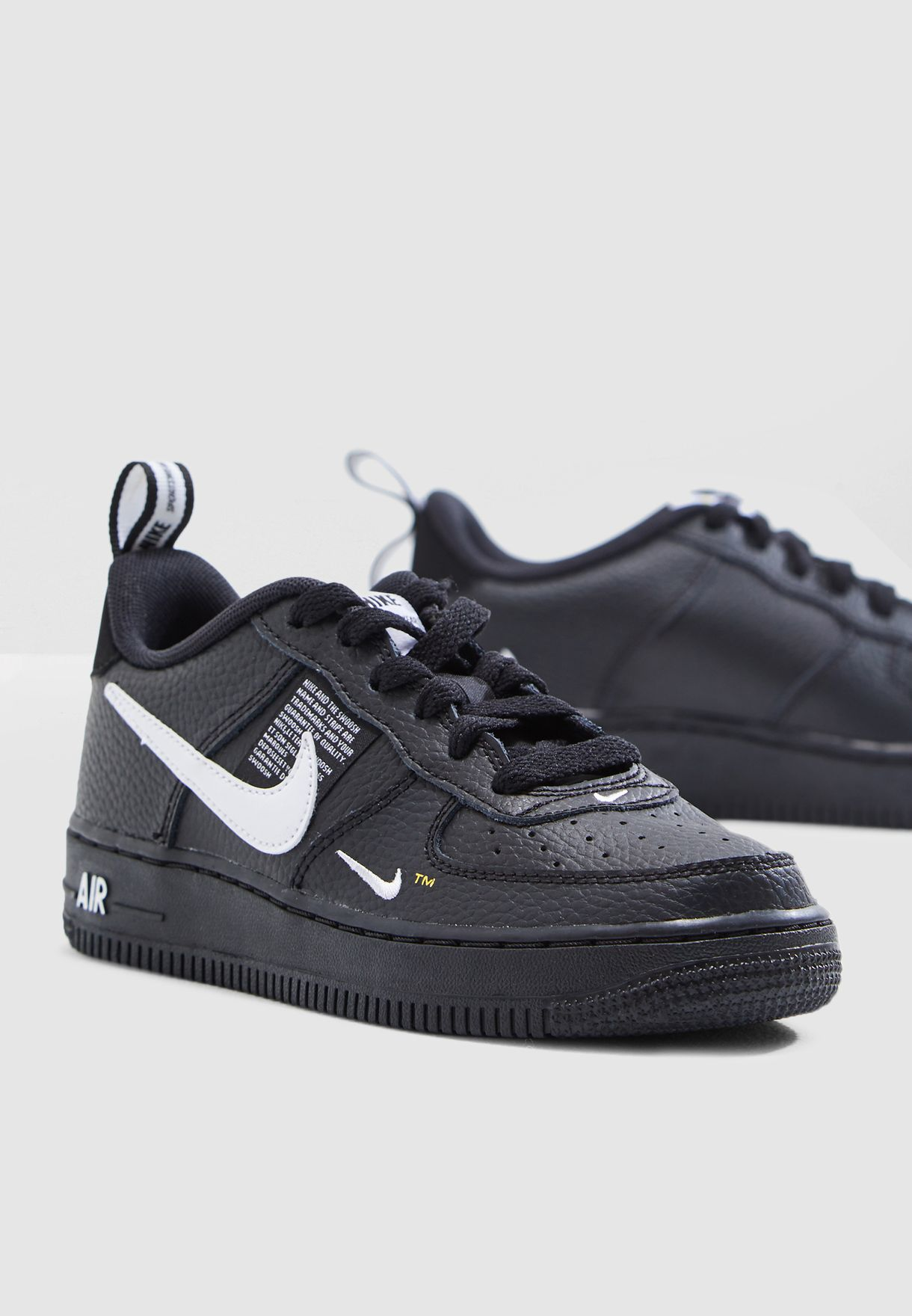 90d30d1a1ef49 Shop Nike black Youth Air Force 1 LV8 Utility AR1708-001 for Kids in ...