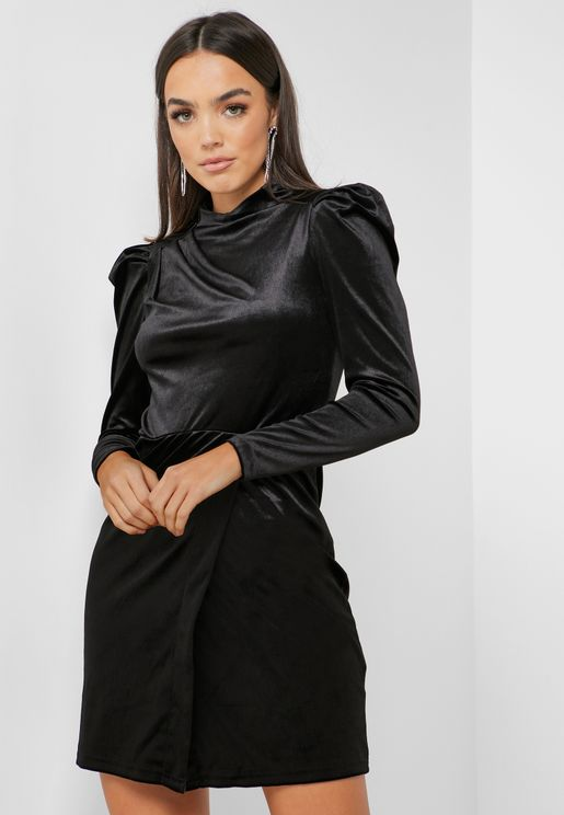 High Neck Velvet Dress