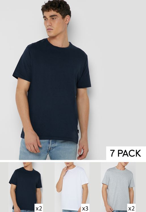 7 Pack Essential Crew Neck T-Shirts