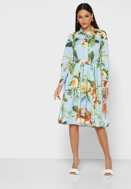 Floral Print Self Tie Shirt Midi Dress