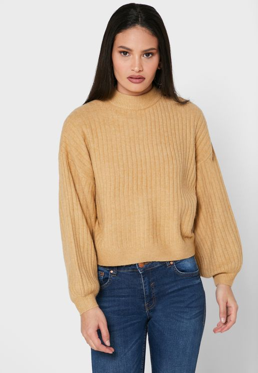 Ribbed Funnel Neck Sweater