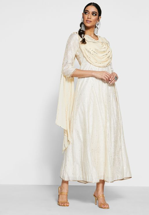 Ivory Foil Chikankari Maxi Tunic with Attached Dupatta