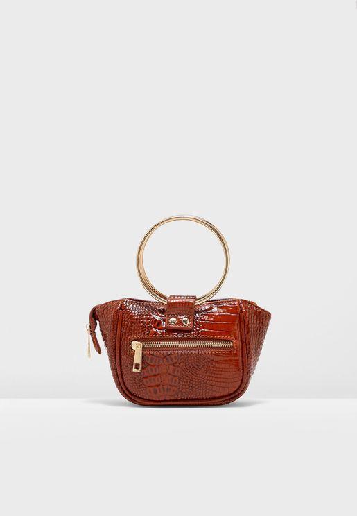 Mini Clutch Bag With Metal Handle