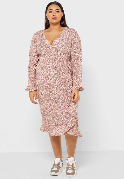 فستان ماكسي لف بطبعات ازهار