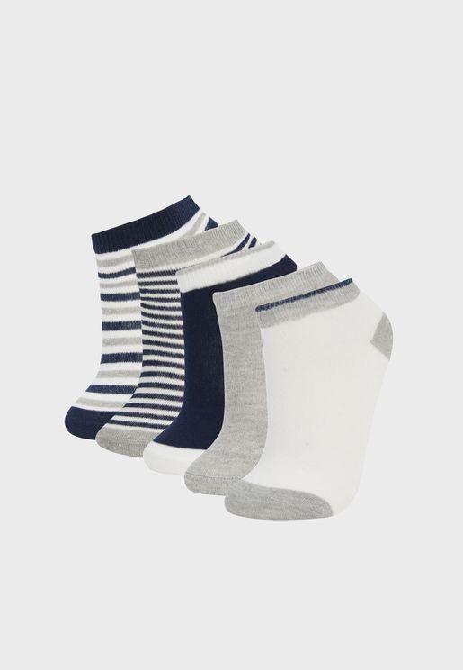 Kids 5 Pack Assorted Ankle Socks