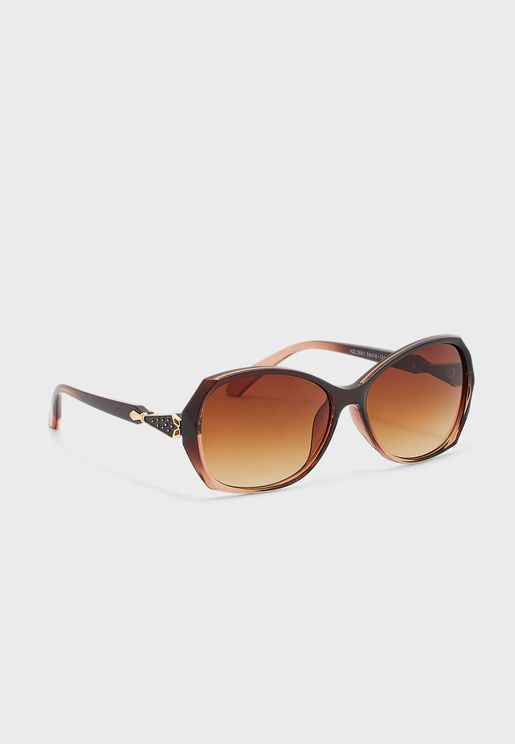 Oversized Sunglasses With Arm Pattern