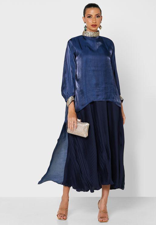 High Neck Pleated Abaya