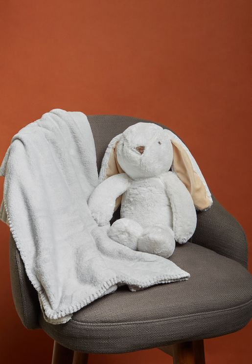 Bunny Rolled Blanket And Toy Set